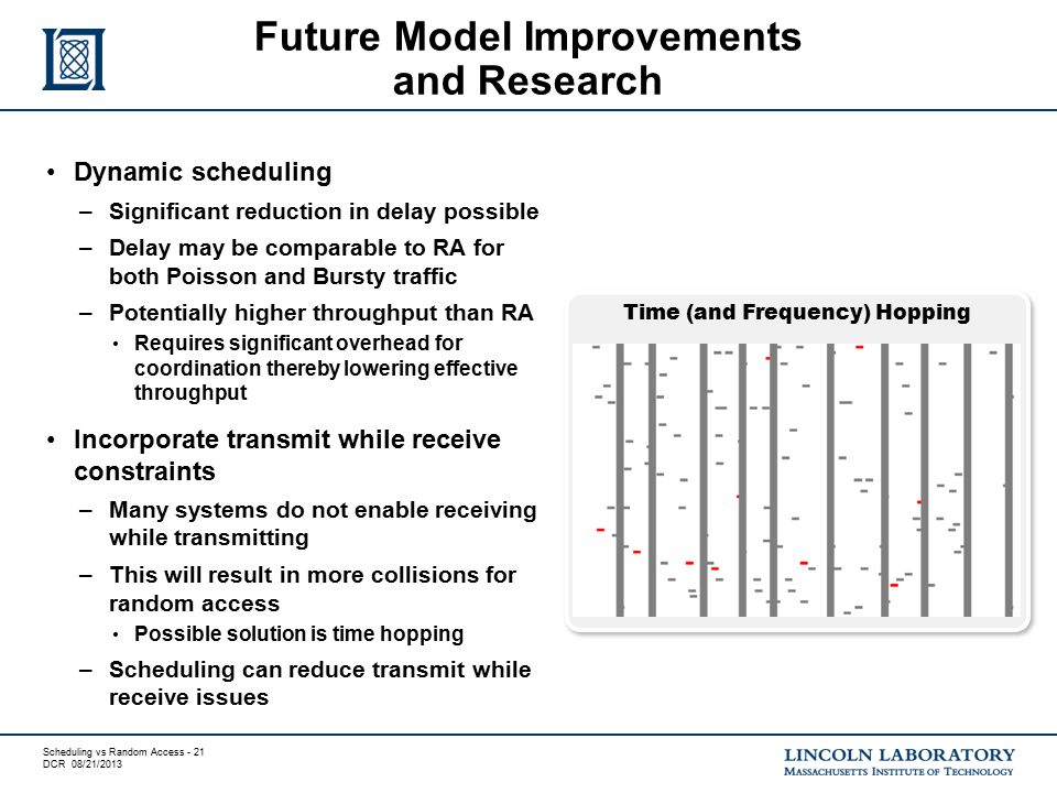 Scheduling vs Random Access - 21 DCR 08/21/2013 Dynamic scheduling –Significant reduction in delay possible –Delay may be comparable to RA for both Po