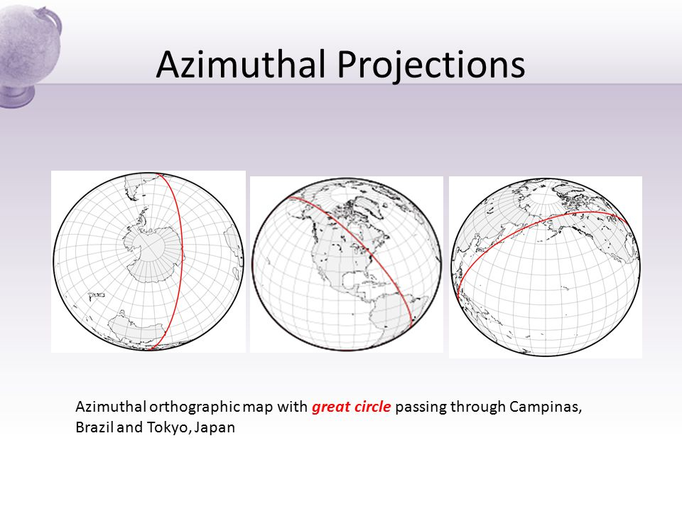 Azimuthal Projections Azimuthal orthographic map with great circle passing through Campinas, Brazil and Tokyo, Japan