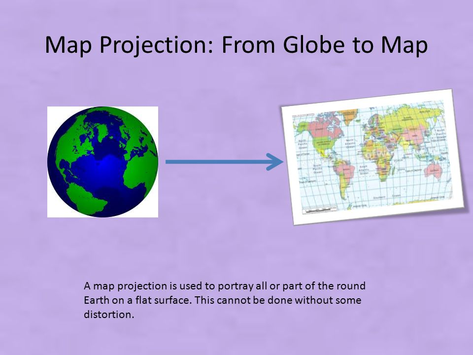 Map Projection: From Globe to Map A map projection is used to portray all or part of the round Earth on a flat surface. This cannot be done without so