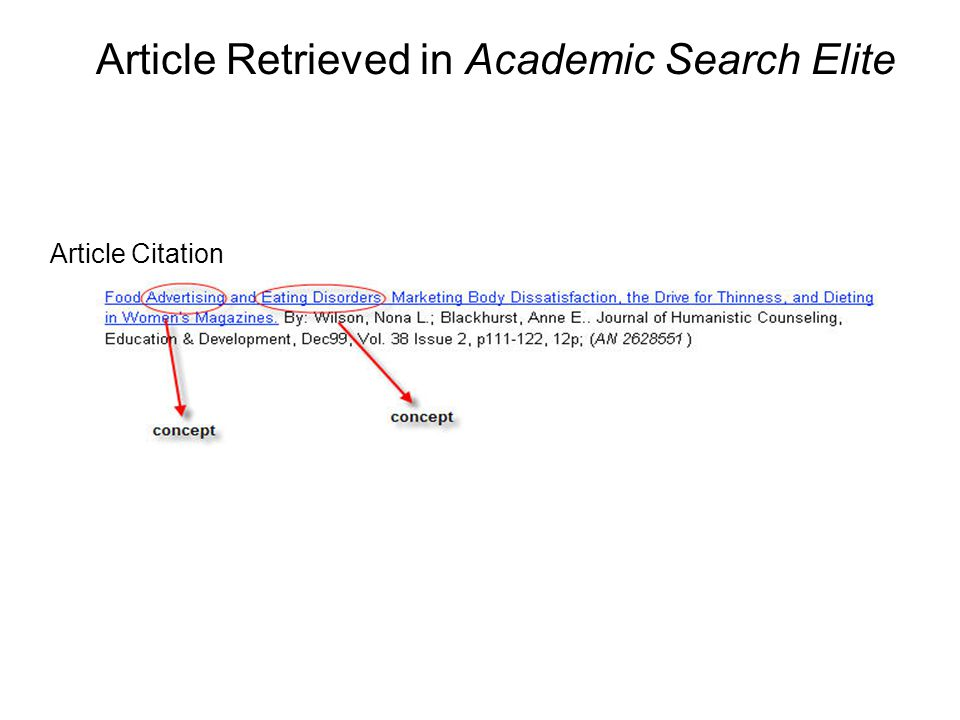 Article Retrieved in Academic Search Elite Article Citation