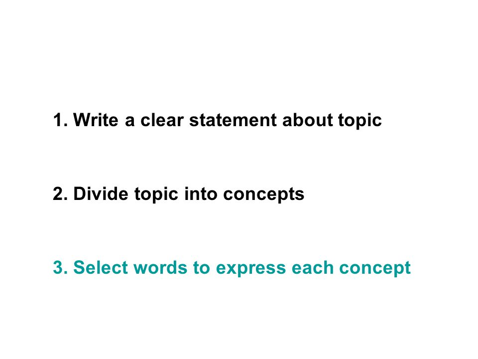 1. Write a clear statement about topic 2. Divide topic into concepts 3.
