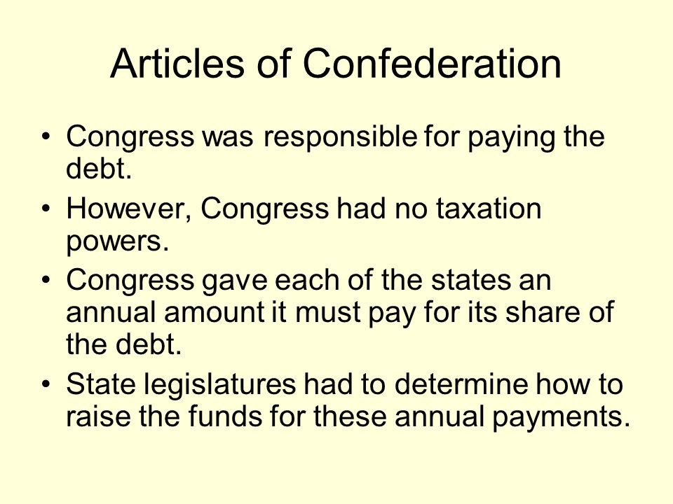 Articles of Confederation Congress was responsible for paying the debt.