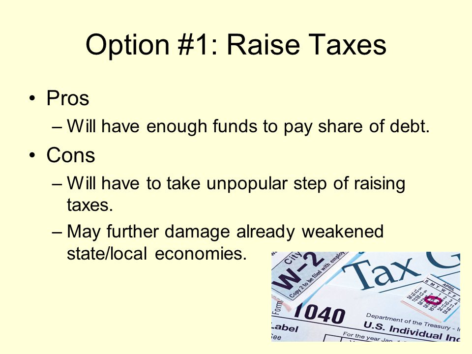 Option #1: Raise Taxes Pros –Will have enough funds to pay share of debt.