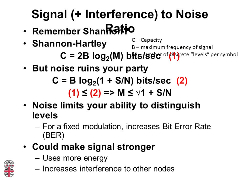 Signal (+ Interference) to Noise Ratio Remember Shannon.