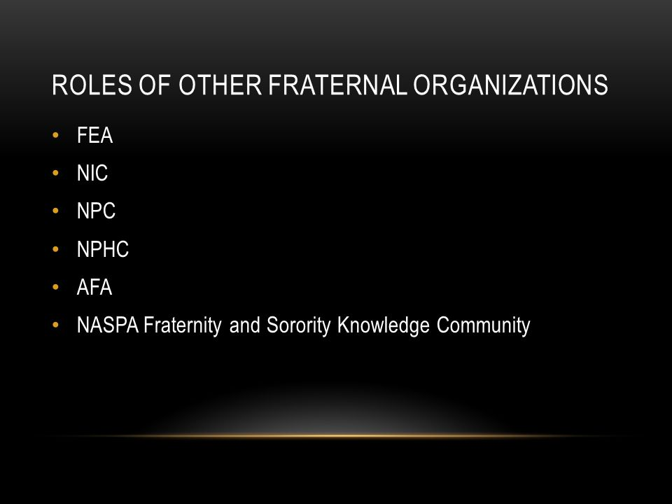 ROLES OF OTHER FRATERNAL ORGANIZATIONS FEA NIC NPC NPHC AFA NASPA Fraternity and Sorority Knowledge Community