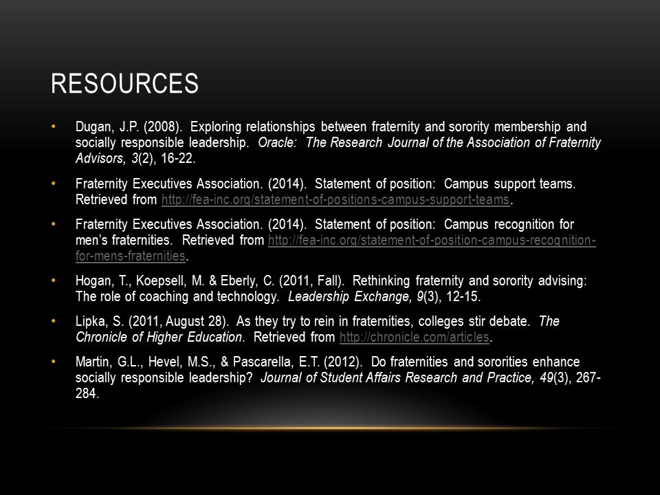 RESOURCES Dugan, J.P. (2008).
