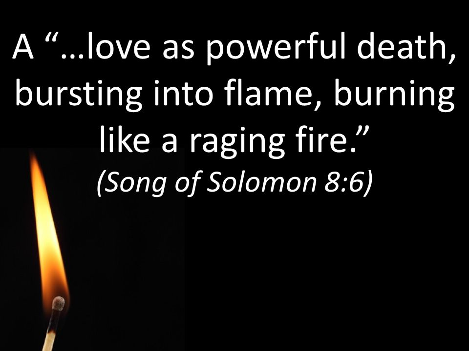 A …love as powerful death, bursting into flame, burning like a raging fire. (Song of Solomon 8:6)