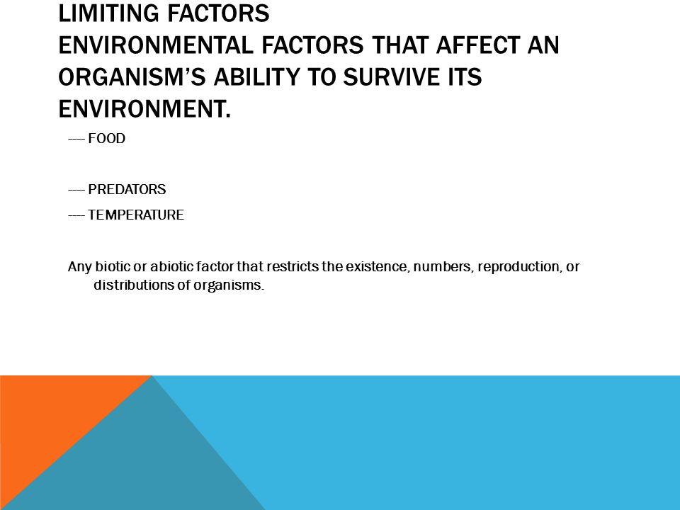 LIMITING FACTORS ENVIRONMENTAL FACTORS THAT AFFECT AN ORGANISM'S ABILITY TO SURVIVE ITS ENVIRONMENT. ---- FOOD ---- PREDATORS ---- TEMPERATURE Any bio