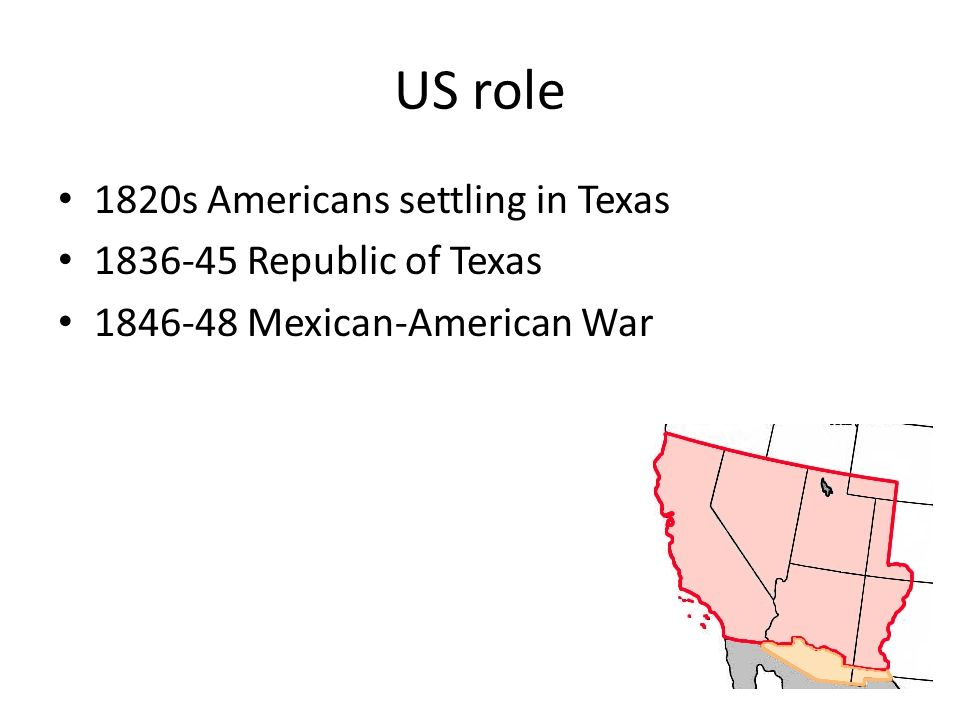 US role 1820s Americans settling in Texas 1836-45 Republic of Texas 1846-48 Mexican-American War