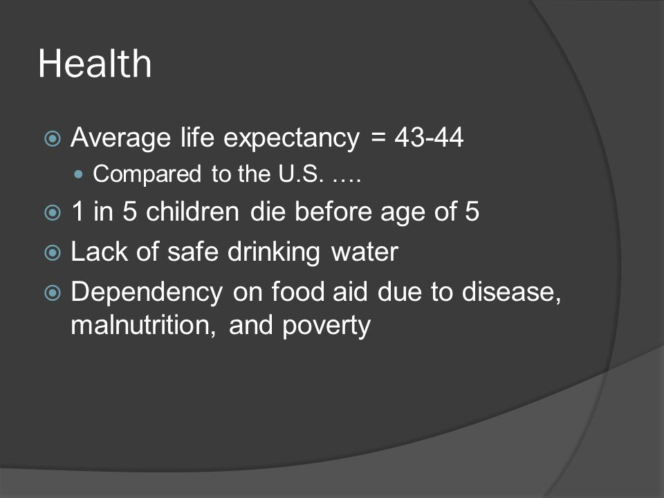 Health  Average life expectancy = 43-44 Compared to the U.S.