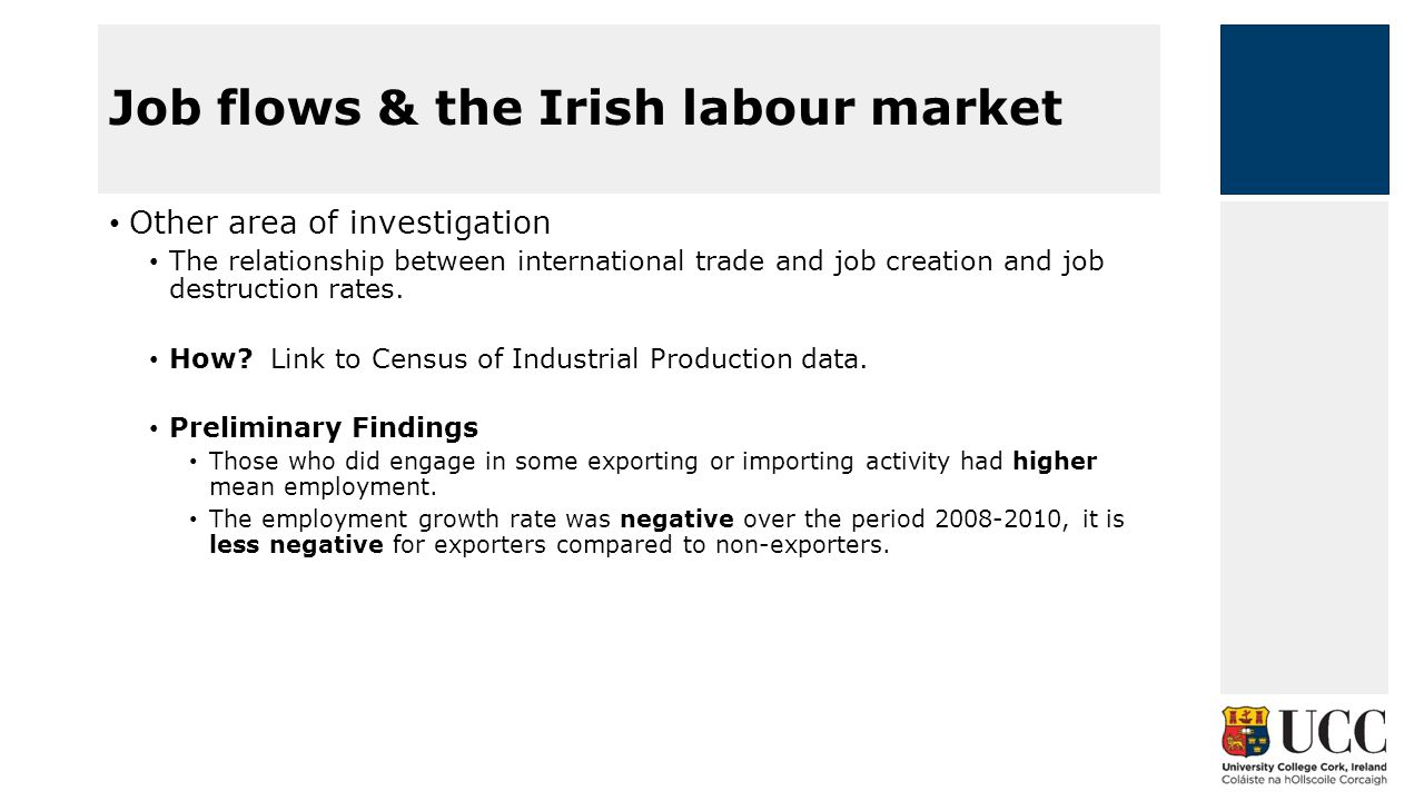 Other area of investigation The relationship between international trade and job creation and job destruction rates.