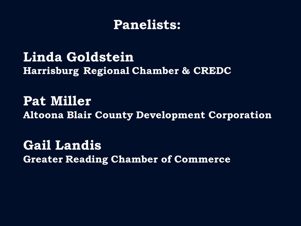 Panelists: Linda Goldstein Harrisburg Regional Chamber & CREDC Pat Miller Altoona Blair County Development Corporation Gail Landis Greater Reading Chamber of Commerce