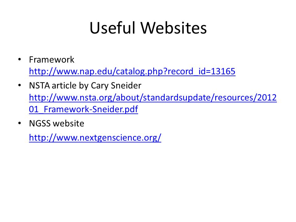 Useful Websites Framework http://www.nap.edu/catalog.php?record_id=13165 http://www.nap.edu/catalog.php?record_id=13165 NSTA article by Cary Sneider h
