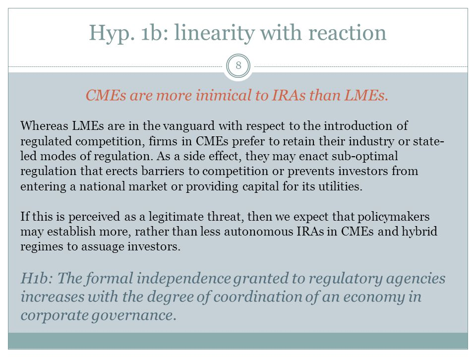 Hyp. 1b: linearity with reaction 8 CMEs are more inimical to IRAs than LMEs.