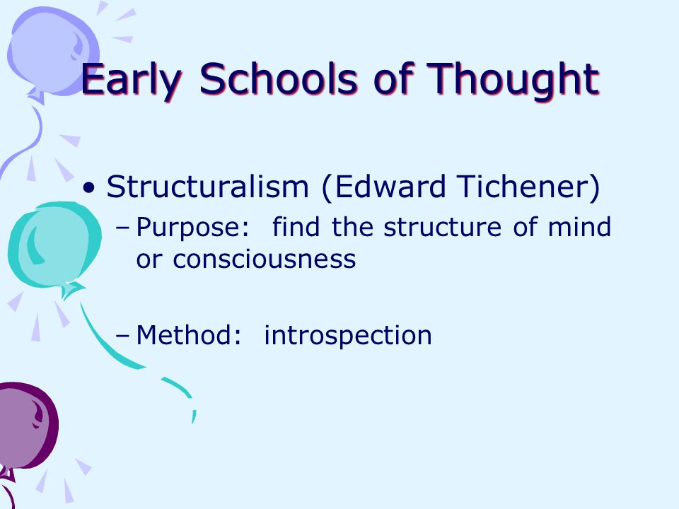 Early Schools of Thought Structuralism (Edward Tichener) –Purpose: find the structure of mind or consciousness –Method: introspection