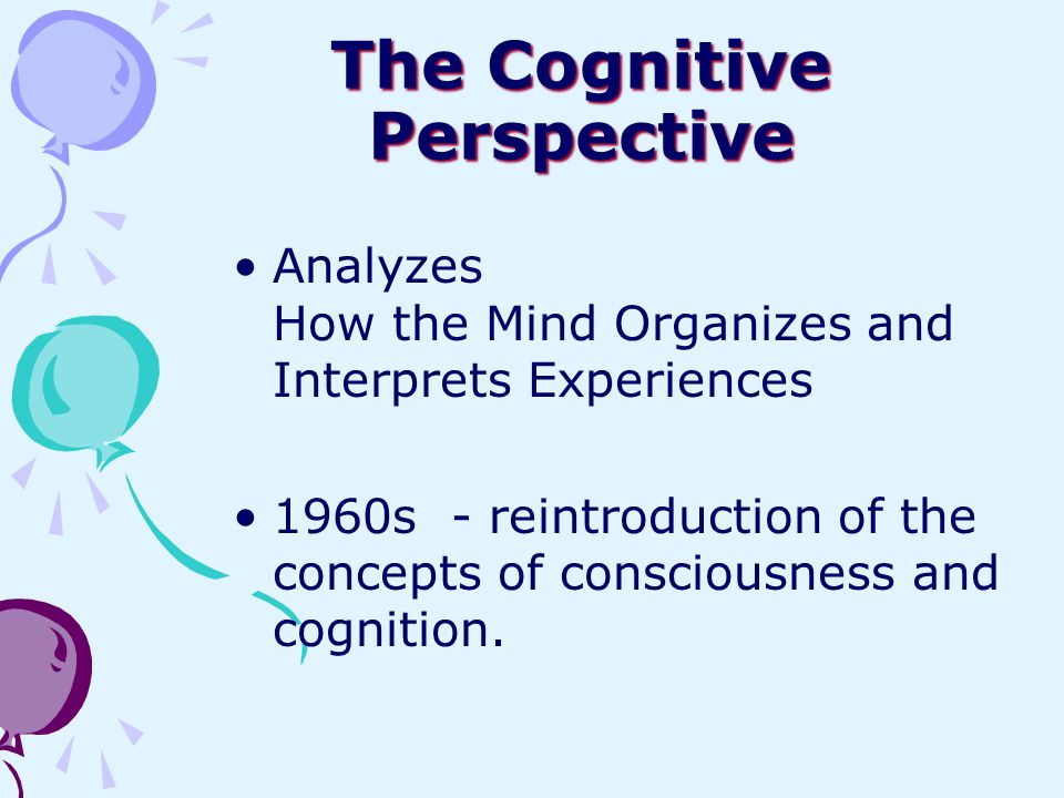The Cognitive Perspective Analyzes How the Mind Organizes and Interprets Experiences 1960s - reintroduction of the concepts of consciousness and cogni