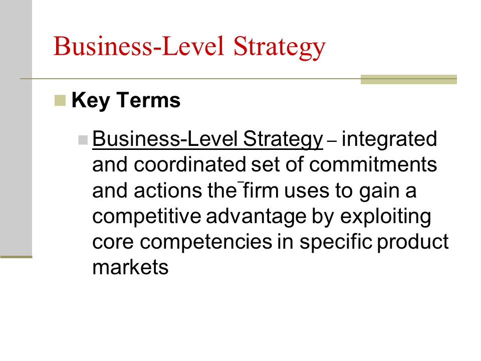 Integrated Strategy – Advantages Improved speed of adapting to environmental changes Improved speed of learning new skills and technologies Improved leverage of core competencies while competing against rivals