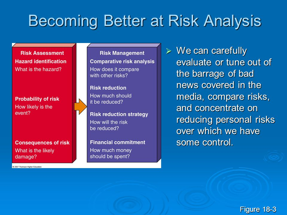 Becoming Better at Risk Analysis  We can carefully evaluate or tune out of the barrage of bad news covered in the media, compare risks, and concentra