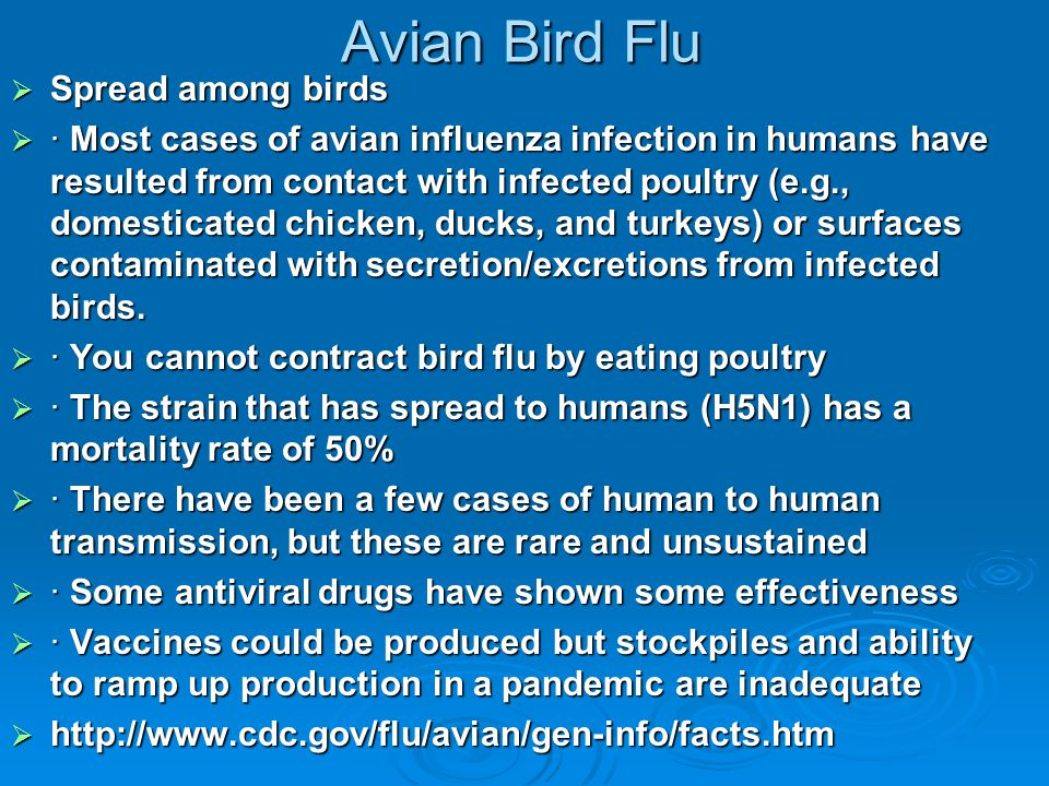 Avian Bird Flu  Spread among birds  · Most cases of avian influenza infection in humans have resulted from contact with infected poultry (e.g., dome
