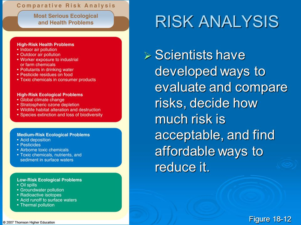 RISK ANALYSIS  Scientists have developed ways to evaluate and compare risks, decide how much risk is acceptable, and find affordable ways to reduce i