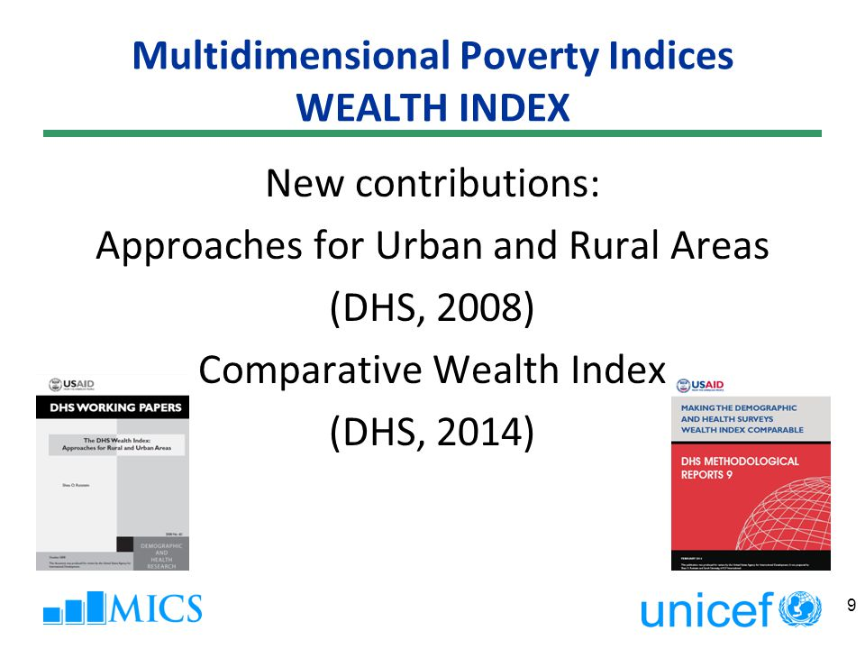 Multidimensional Poverty Indices BRISTOL POVERTY MEASURE  Developed by Bristol University - Townsend Centre for International Poverty Research with UNICEF  UNICEF launched at the end of 2007 the Global Study on Child Poverty and Disparities that combines the income approach with the Bristol deprivations approach (see http://www.unicefglobalstudy.blogspot.com/)http://www.unicefglobalstudy.blogspot.com/  More than 50 UNICEF Country Offices in seven regions have joined the study.
