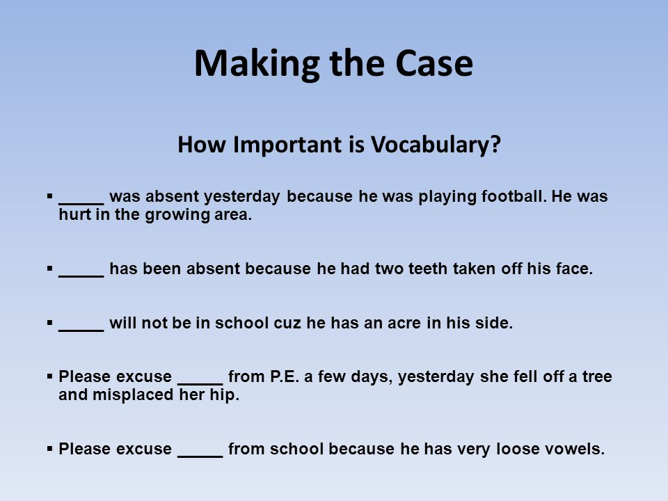 Making the Case How Important is Vocabulary.