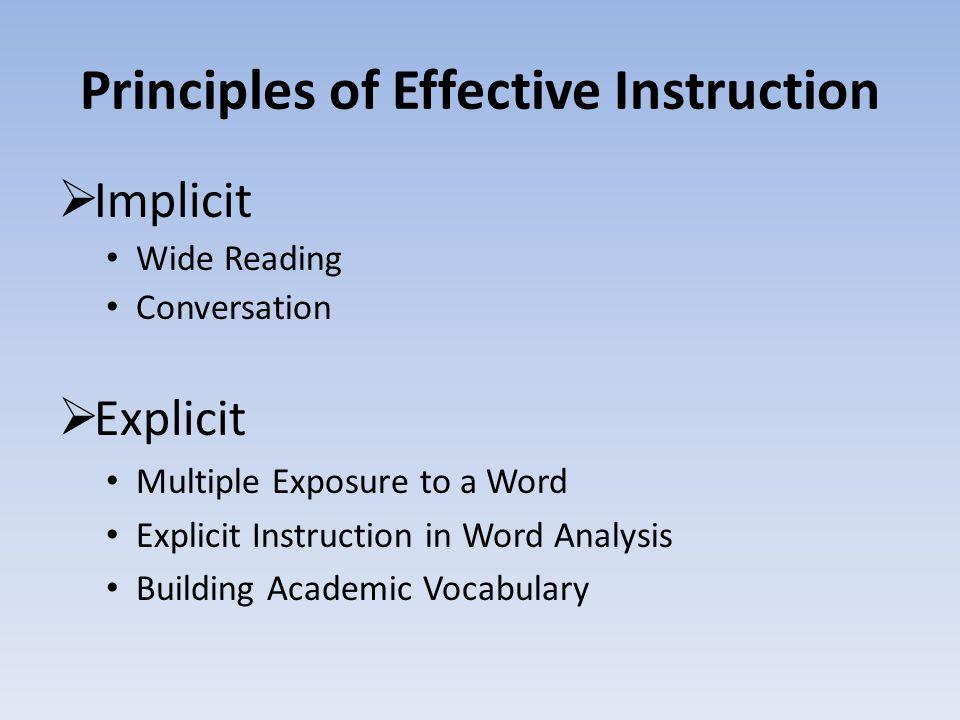 Principles of Effective Instruction  Implicit Wide Reading Conversation  Explicit Multiple Exposure to a Word Explicit Instruction in Word Analysis Building Academic Vocabulary