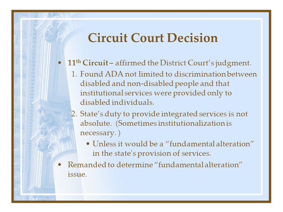 Circuit Court Decision 11 th Circuit – affirmed the District Court's judgment.