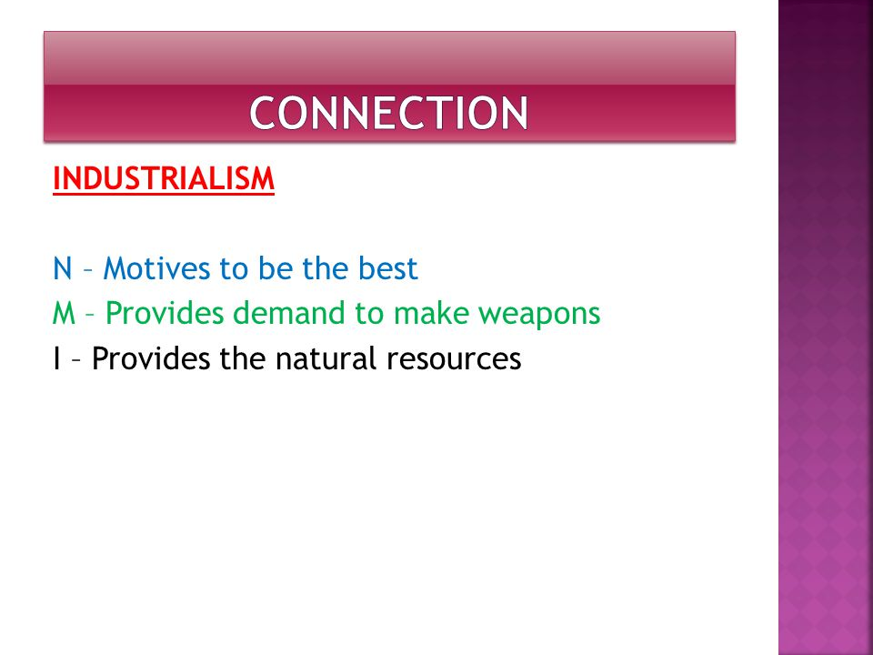 INDUSTRIALISM N – Motives to be the best M – Provides demand to make weapons I – Provides the natural resources