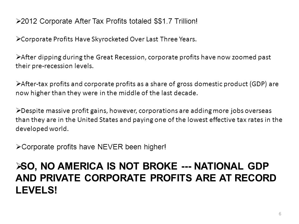 6  2012 Corporate After Tax Profits totaled $$1.7 Trillion.