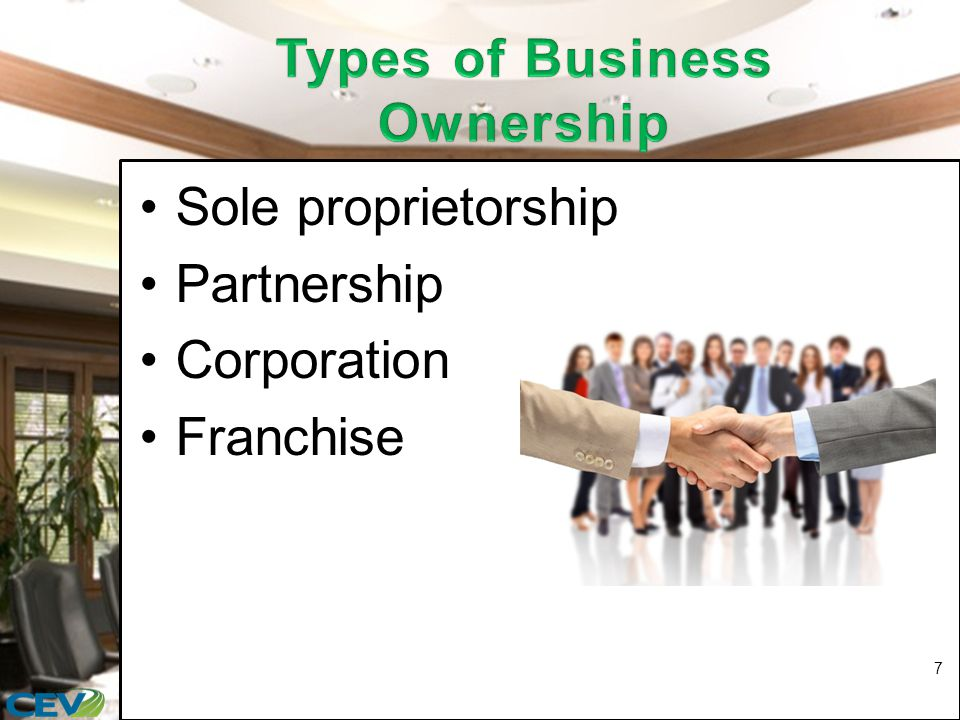 Is the right or license to sell a company's product or service at a designated location Involves: –franchisor: a business which leases its trade name and operating system to another person –franchisee: person or persons who pay fees to a company to operate a business under the franchisor's trade name 18