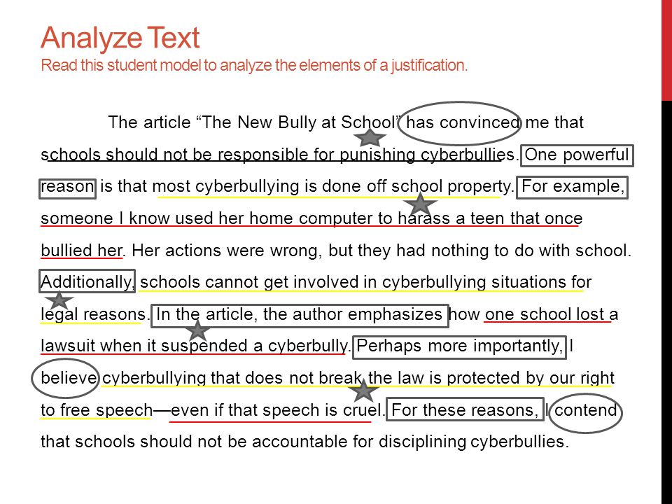 Analyze Text Read this student model to analyze the elements of a justification.