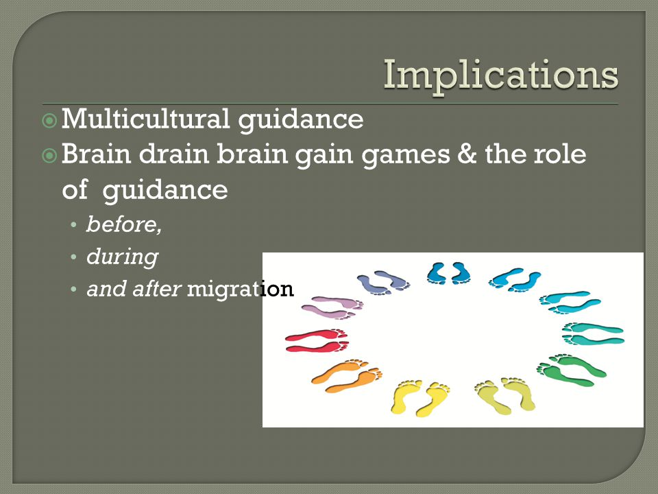  Multicultural guidance  Brain drain brain gain games & the role of guidance before, during and after migration