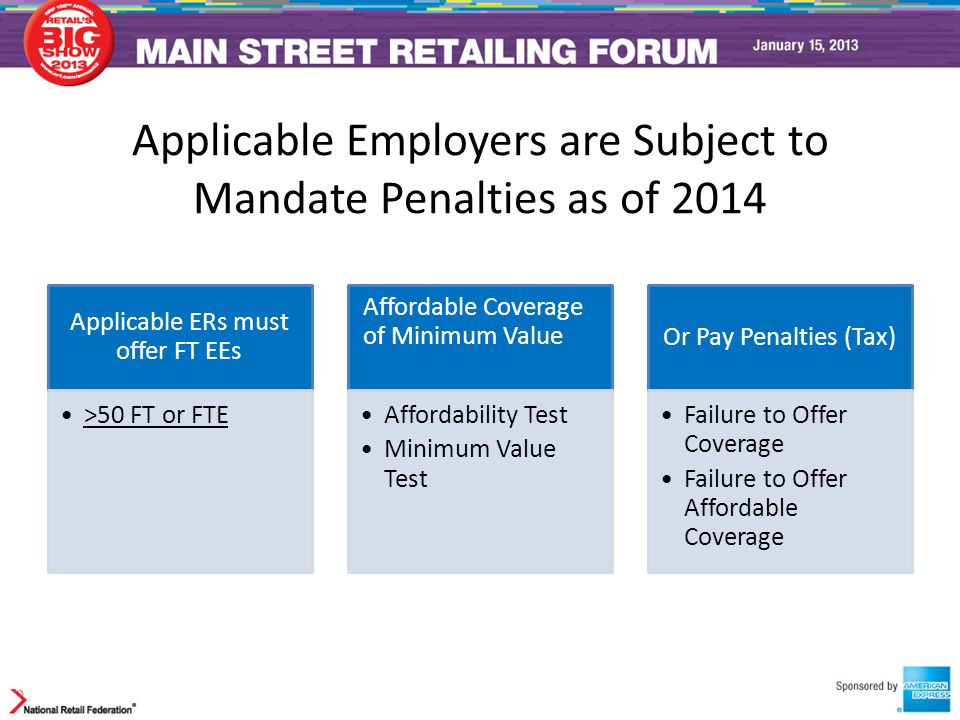 Applicable Employers are Subject to Mandate Penalties as of 2014 Applicable ERs must offer FT EEs >50 FT or FTE Affordable Coverage of Minimum Value A