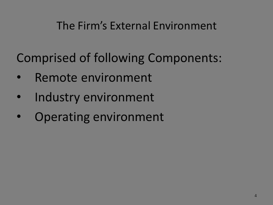 The Firm's External Environment Comprised of following Components: Remote environment Industry environment Operating environment 4