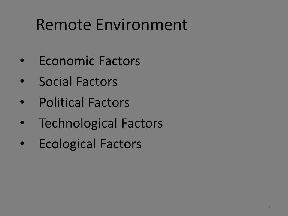 Remote Environment Economic Factors Social Factors Political Factors Technological Factors Ecological Factors 7