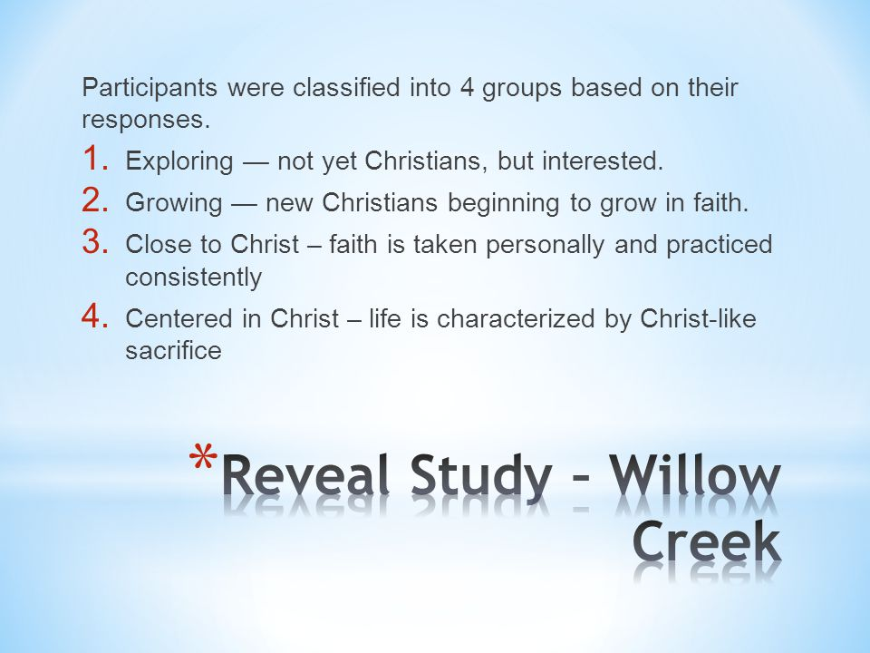 Participants were classified into 4 groups based on their responses. 1. Exploring — not yet Christians, but interested. 2. Growing — new Christians be