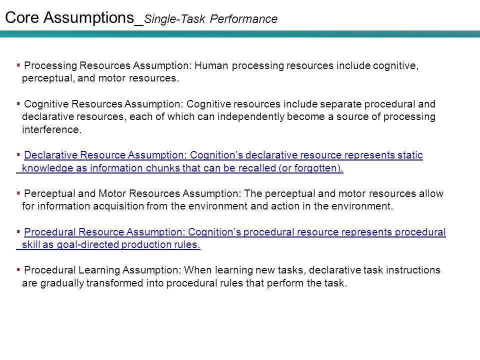 Core Assumptions_ Single-Task Performance  Processing Resources Assumption: Human processing resources include cognitive, perceptual, and motor resou