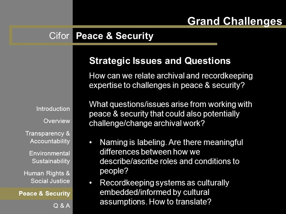 Cifor Grand Challenges Peace & Security Introduction Overview Transparency & Accountability Environmental Sustainability Human Rights & Social Justice