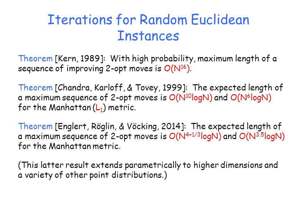 Iterations for Random Euclidean Instances Theorem [Kern, 1989]: With high probability, maximum length of a sequence of improving 2-opt moves is O(N 16