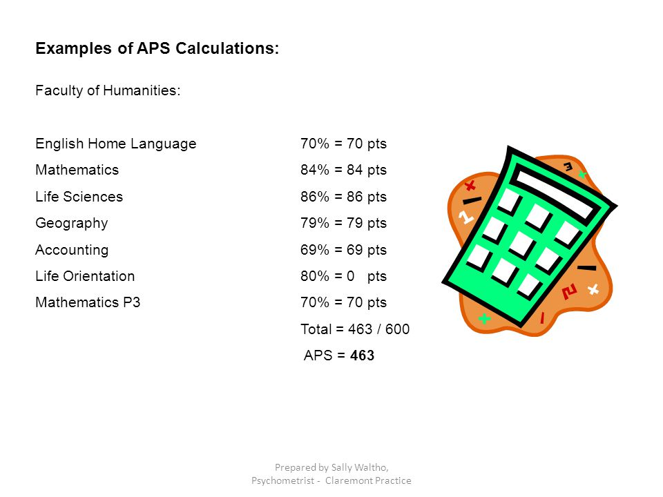 Examples of APS Calculations: Faculty of Humanities: English Home Language70% = 70 pts Mathematics84% = 84 pts Life Sciences86% = 86 pts Geography79% = 79 pts Accounting69% = 69 pts Life Orientation80% = 0 pts Mathematics P370% = 70 pts Total = 463 / 600 APS = 463 Prepared by Sally Waltho, Psychometrist - Claremont Practice