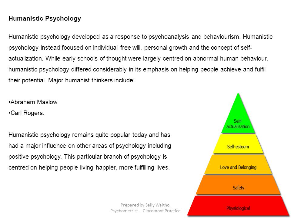 Humanistic Psychology Humanistic psychology developed as a response to psychoanalysis and behaviourism. Humanistic psychology instead focused on indiv