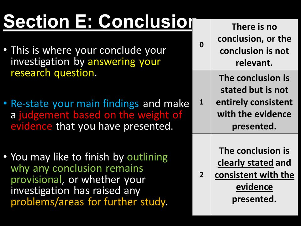 Section E: Conclusion 0 There is no conclusion, or the conclusion is not relevant. 1 The conclusion is stated but is not entirely consistent with the