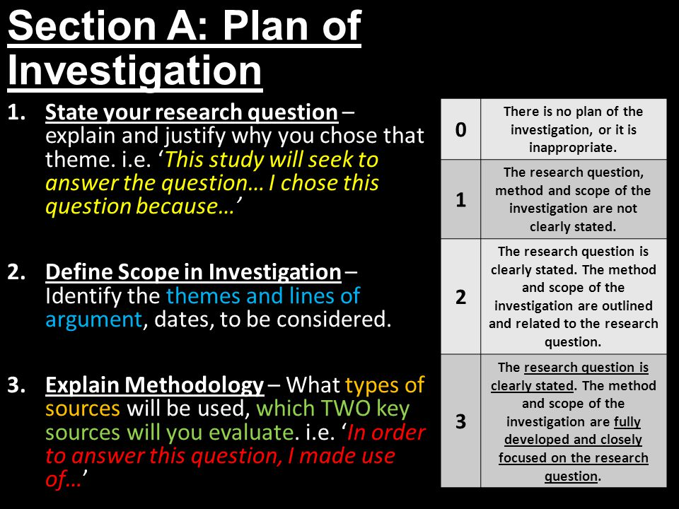 Section A: Plan of Investigation 1.State your research question – explain and justify why you chose that theme. i.e. 'This study will seek to answer t