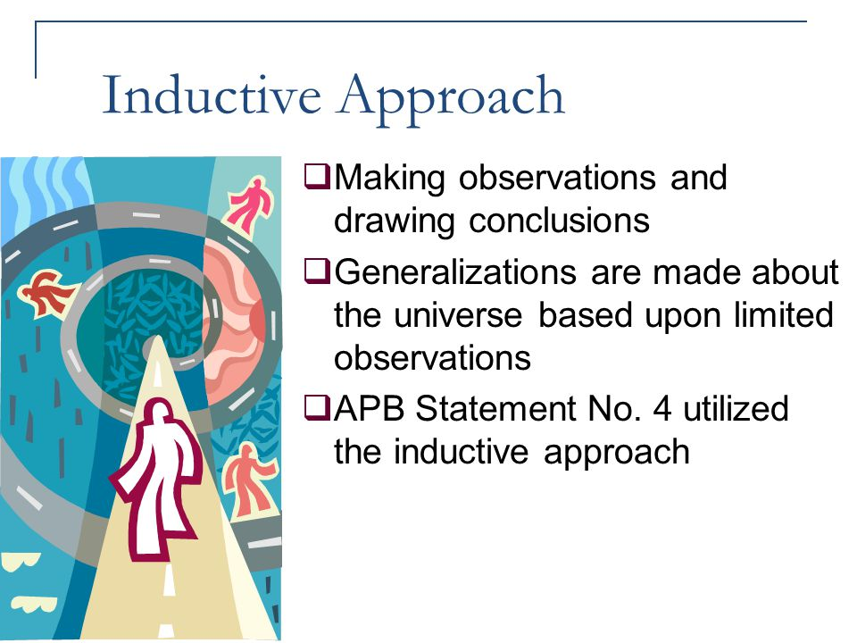 Inductive Approach  Making observations and drawing conclusions  Generalizations are made about the universe based upon limited observations  APB S