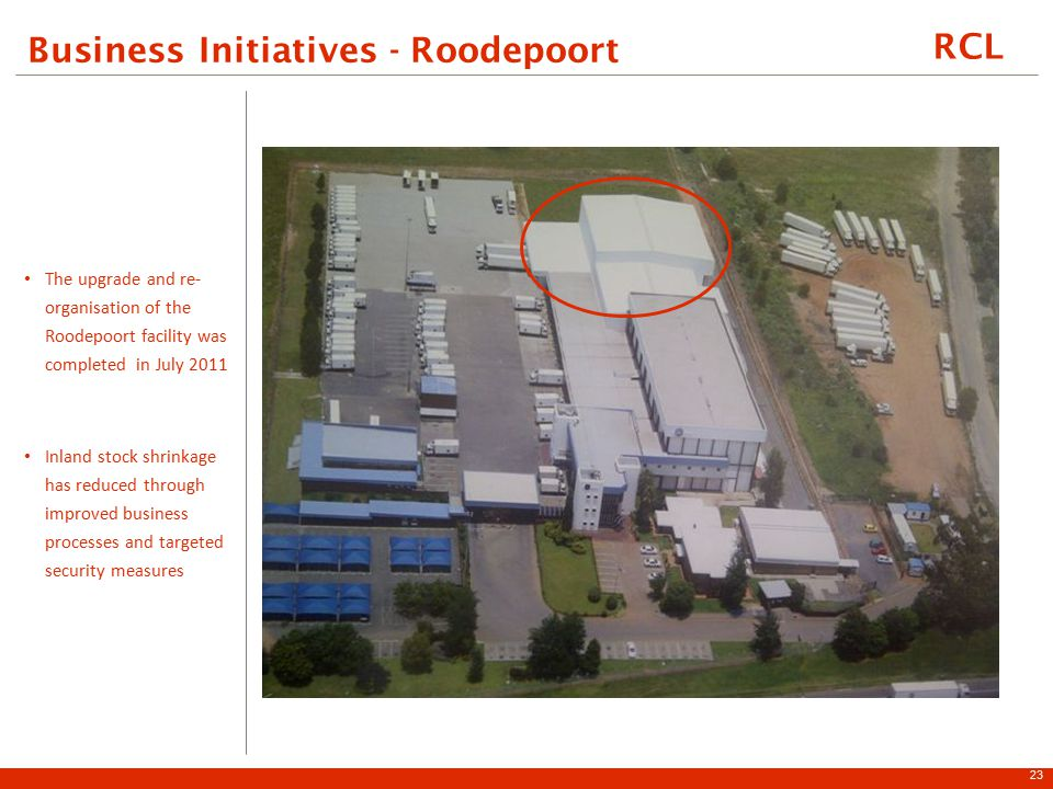 RCL Business Initiatives - Roodepoort The upgrade and re- organisation of the Roodepoort facility was completed in July 2011 Inland stock shrinkage has reduced through improved business processes and targeted security measures 23