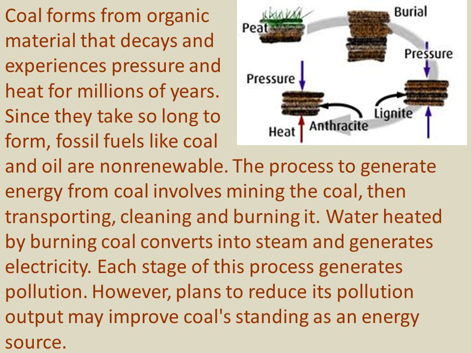 Coal forms from organic material that decays and experiences pressure and heat for millions of years.