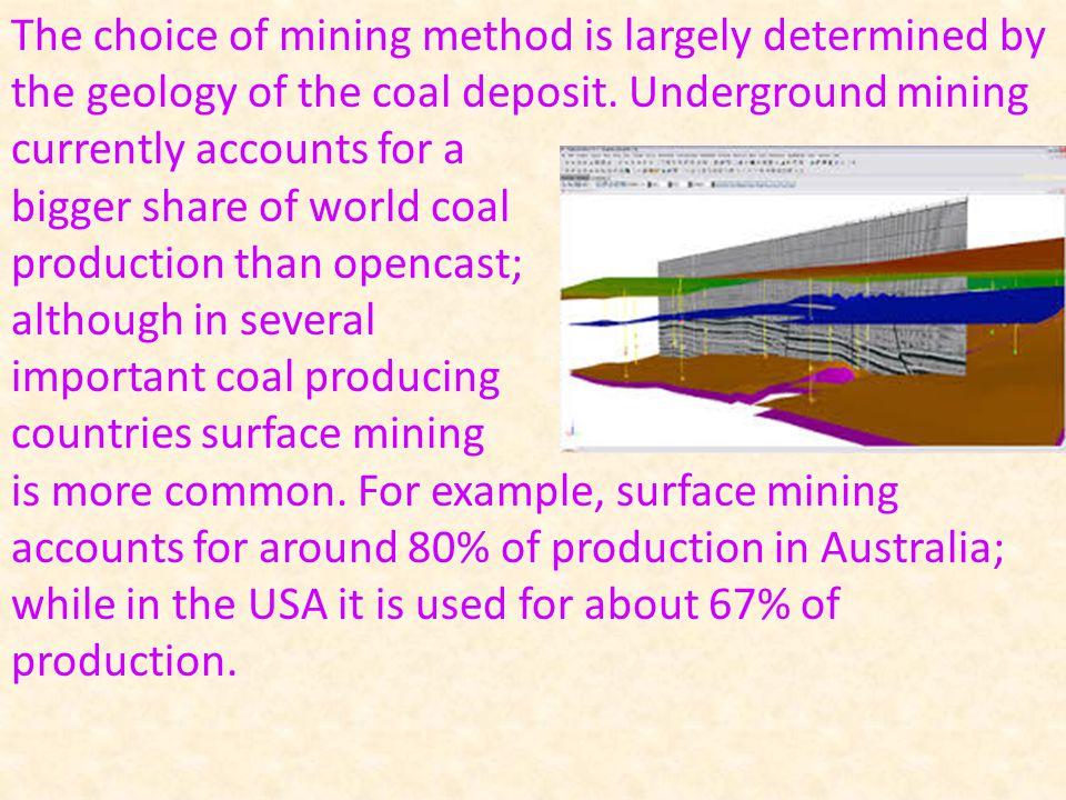 The choice of mining method is largely determined by the geology of the coal deposit.