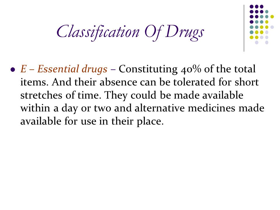 Classification Of Drugs E – Essential drugs – Constituting 40% of the total items.