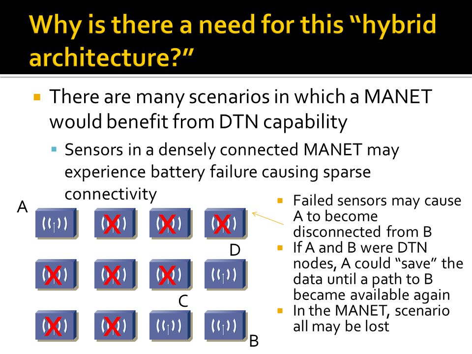  There are many scenarios in which a MANET would benefit from DTN capability  Sensors in a densely connected MANET may experience battery failure ca